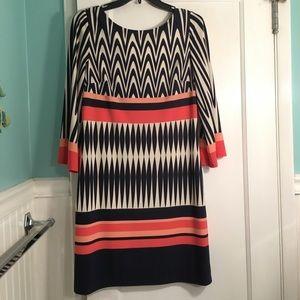 Eliza J multicolor 3/4 length sleeve sheath dress